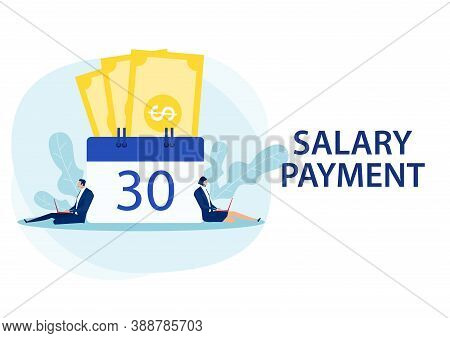 Man And Woman Working Laptop Salary Payment Day Concept