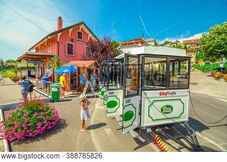 Chexbres, Switzerland - Aug 12, 2020: Lavaux Panoramic Express, Tourist Train From Chexbres To Narro
