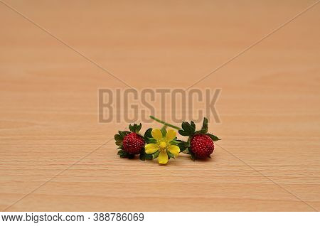 Two Red Strawberries With A Yellow Flower On A Table