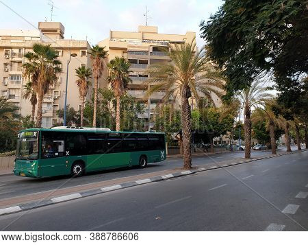 Holon, Israel. September 30, 2020. Green Egged Intercity Passenger Bus At Yehoshua Rabinovich Street