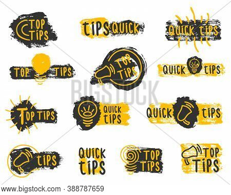 Quick Tips Shapes. Quick Tips, Useful Tricks Vector Logos, Emblems And Banners Vector Set Isolated.