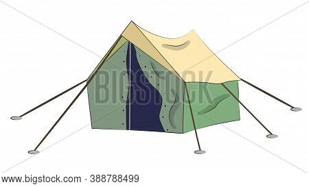Cartoon Tent Isolated. Sports Tourism Nature. Tent Camping. The Journey To The Mountains And Forests