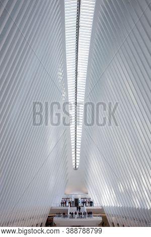 New York City, USA, February 2020: World Trade Center station (PATH), a new transit hub called Oculus, designed by Santiago Calatrava,