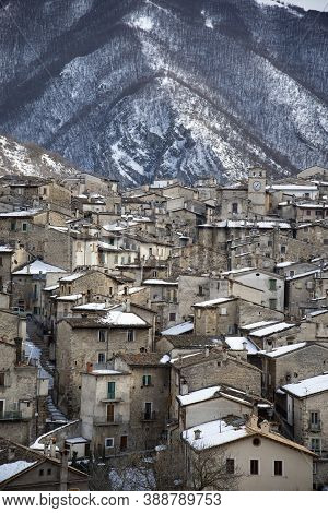 The View Of The Old Scanno Village In Abruzzo, Italy