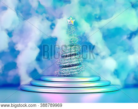 Beautiful Luxury New Year Christmas Holiday Background. 3d Illustration, 3d Rendering. 3d   Illustra