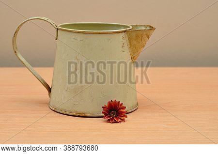 A Rusty Old Mug On A Table With An African Daisy
