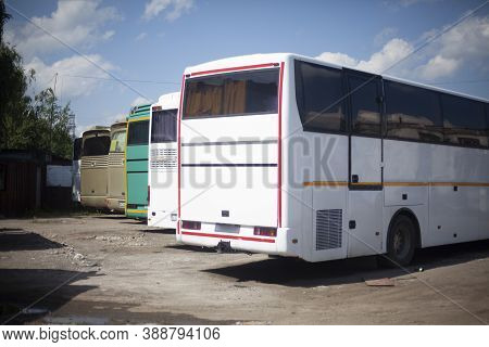 Bus Parking. The Buses Are In A Row. Place For Large Transport.