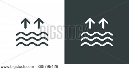 High Tides. Waves On The Sea. Isolated Icon On Black And White Background. Weather Glyph Vector Illu