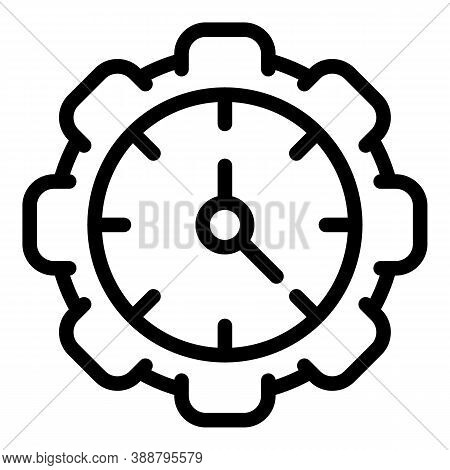Gear Wheel Stopwatch Icon. Outline Gear Wheel Stopwatch Vector Icon For Web Design Isolated On White