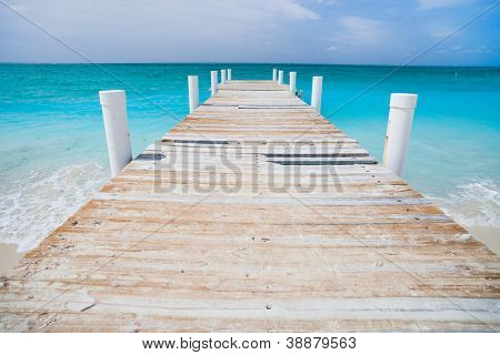 Jetty on Providenciales island in Turks and Caicos
