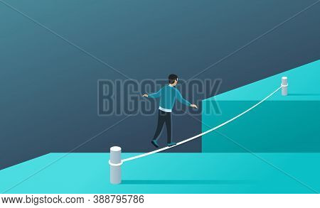 Business Risk And Professional Strategy Concept - Man Walks Over Gap As Tightrope Walker - Isometric