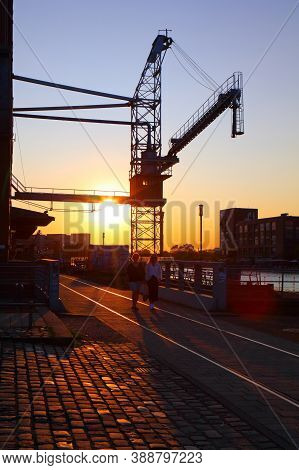 Duisburg, Germany - September 18, 2020: People Visit Inner Harbour (innenhafen) In Duisburg, Germany