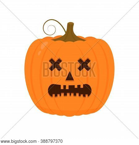 Halloween Pumpkin With Spooky Face Icon Isolated On White. Cute Cartoon Jack-o -lantern. Halloween P