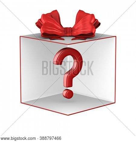 open white gift box with red bow and question on white background. Isolated 3D illustration