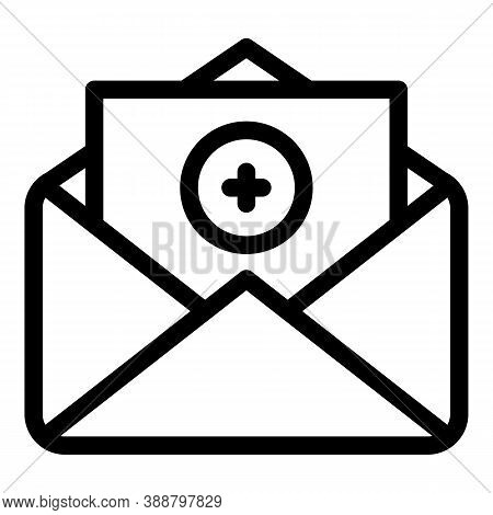 Add Letter Envelope Icon. Outline Add Letter Envelope Vector Icon For Web Design Isolated On White B