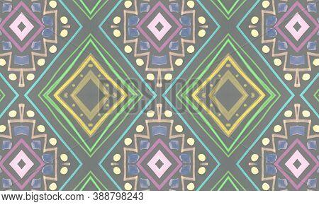Colorful Tribal Background. Gray Navajo Ethnic Wallpaper. Hand Drawn Batik Motif. Geometric Traditio