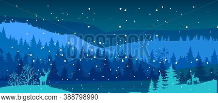 Winter Vector Landscape With Snow, Deer Silhouette, River, Forest Outline, Hills. Christmas Nature B