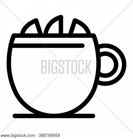 Mug Tea Lemon Icon. Outline Mug Tea Lemon Vector Icon For Web Design Isolated On White Background