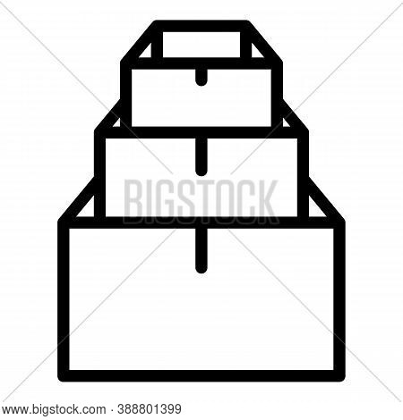 Pile Stack Box Icon. Outline Pile Stack Box Vector Icon For Web Design Isolated On White Background