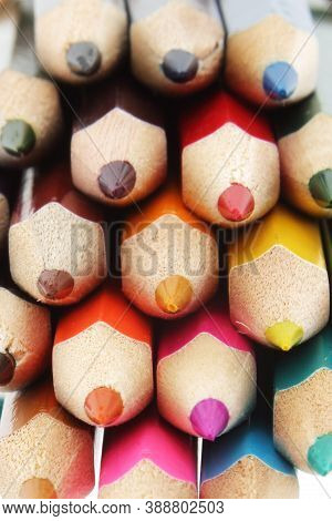 Multi Colored Pencils Close Up With Differential Focus