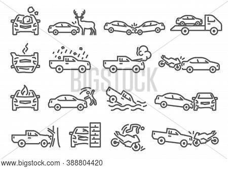 Car, Bike, Vehicle Accident Outline Icons Set Isolated On White. Crash Into Tree, Wall, Animal On Ro