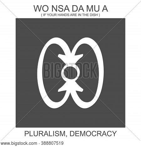 Vector Icon With African Adinkra Symbol Wo Nsa Da Mu A. Symbol Of Pluralism And Democracy