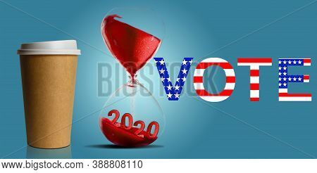 Government Shutdown, Hourglass With American Flag, Word Vote