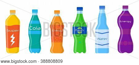 Set Of Soda In Plastic Bottles And Aluminum Cans In Flat Style Isolated On White Background. Differe