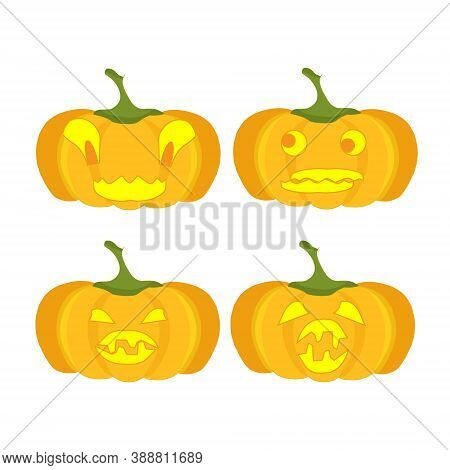 Halloween Pumpkin Emoji Set. Orange Funny Cartoons Art Design Element Object Isolated Stock Vector I