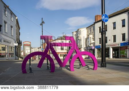 Doncaster,yorkshire, England - October 7, 2020. Pink Sculpture Where Bicycles Can Be Parked.