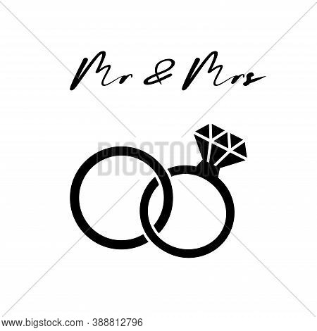 Wedding Rings. Diamond . Modern Minimal Design Style.wedding Or Engagement Illustration