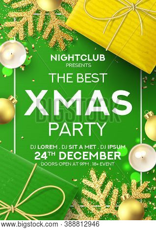 Christmas Party Poster Invitation. Holiday Background With Realistic Yellow And Green Gift Boxes, Ca