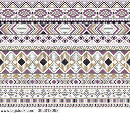 Rhombus And Triangle Symbols Tribal Ethnic Motifs Geometric Seamless Background. Doodle Gypsy Tribal