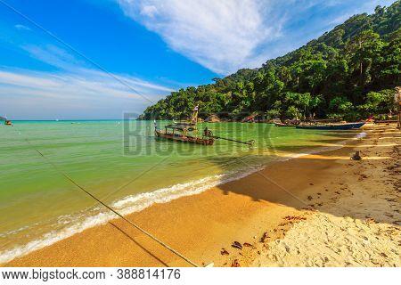 Moken Tribe Village Of Sea Gypsies In Andaman Sea Of Surin Islands, Phang Nga Region. Fisherman Vill