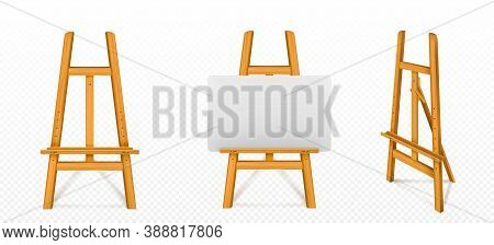 Wooden Easel With White Canvas In Front And Angle View. Vector Realistic Mockup Of Wood Stand For Pa