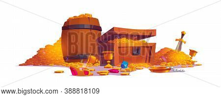 Treasury With Pile Of Golden Coins, Jewelry And Gem. Vector Cartoon Illustration With Treasure Chest