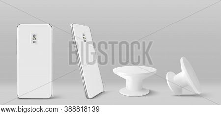 Smartphone Back And Pop Socket Holder In Front And Angle View. Vector Realistic Mockup Of White Mobi