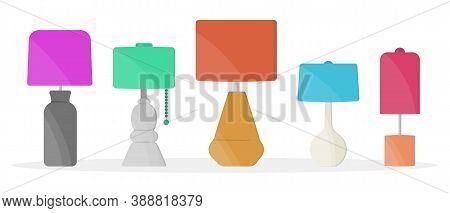 Furniture Chandelier, Floor And Table Lamp In Flat Cartoon Style. Chandeliers, Illuminator, Flashlig