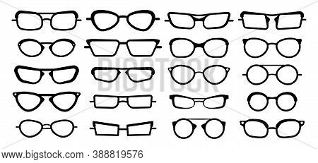 Sunglasses, Glasses Isolated On A White Background. Glasses Model Icons, Men, Women Frames. Various