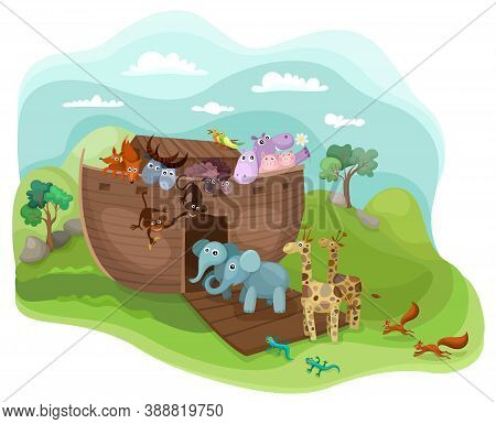 Noah´s Arc Illustration With Cute  Funny Animals