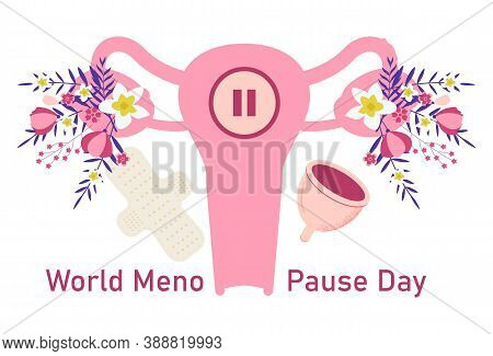 World Menopause Day Concept Vector. Event Is Celebrated In 18 October. Uterus With Tropical Flower A
