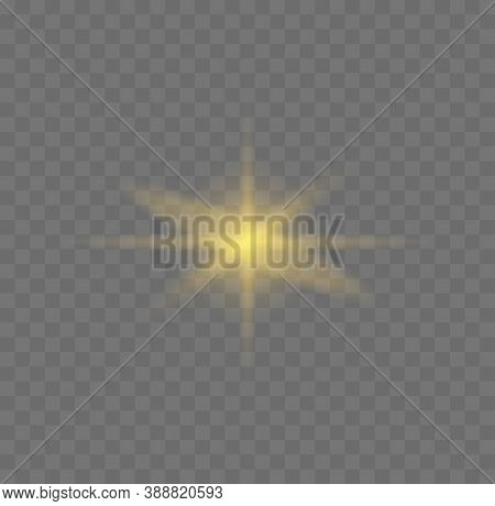Star Burst With Sparkles. Set Of Yellow  Glowing Light Explodes On A Transparent Background Sparklin