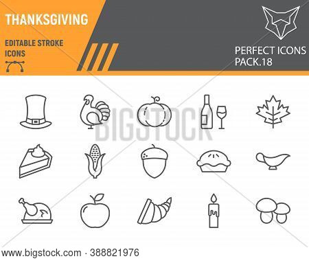 Thanksgiving Line Icon Set, Holiday Collection, Vector Sketches, Logo Illustrations, Thanksgiving Da