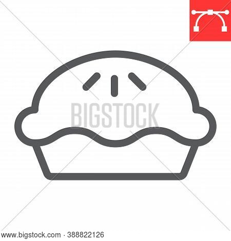 Pie Line Icon, Thanksgiving And Bakery, Pumpkin Pie Sign Vector Graphics, Editable Stroke Linear Ico
