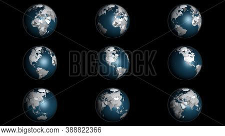 3d Illustration Infographic Globe Instances Showing The Continents And Country Borders, With The Cli