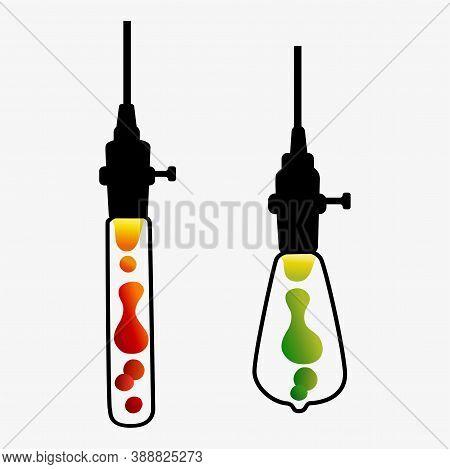 Hand Drawn Vector Geometric Loft Lava Lamp. Line Style Vector.