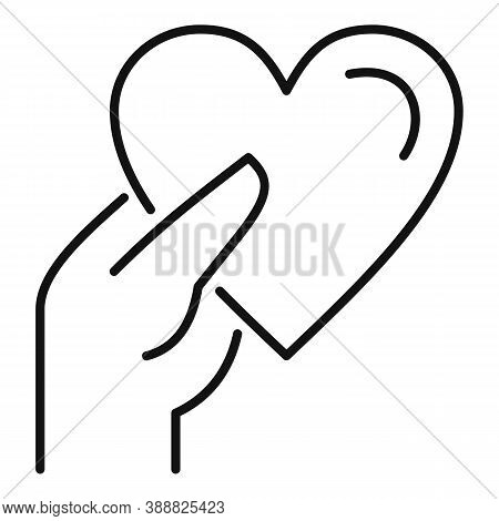 Give Heart Affection Icon. Outline Give Heart Affection Vector Icon For Web Design Isolated On White