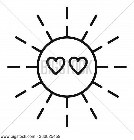 Sun Love Affection Icon. Outline Sun Love Affection Vector Icon For Web Design Isolated On White Bac