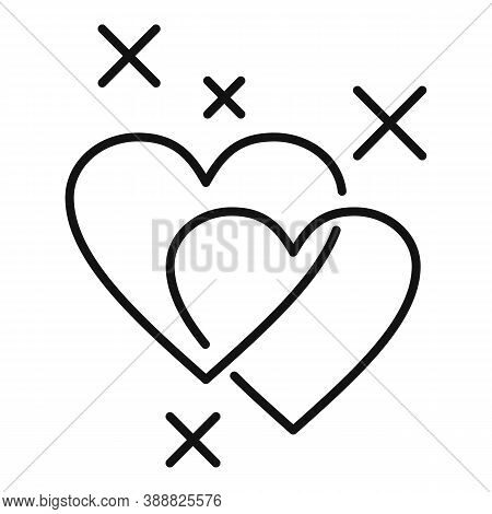 Affection Cute Hearts Icon. Outline Affection Cute Hearts Vector Icon For Web Design Isolated On Whi