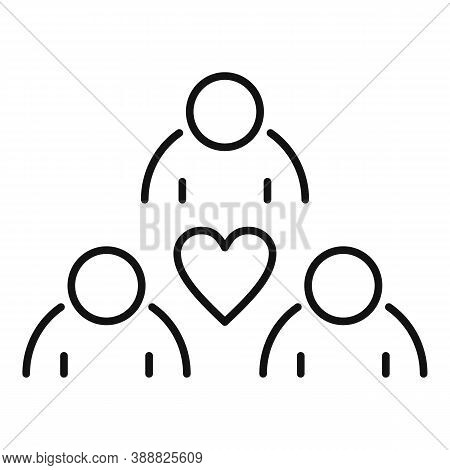 Affection Group People Icon. Outline Affection Group People Vector Icon For Web Design Isolated On W